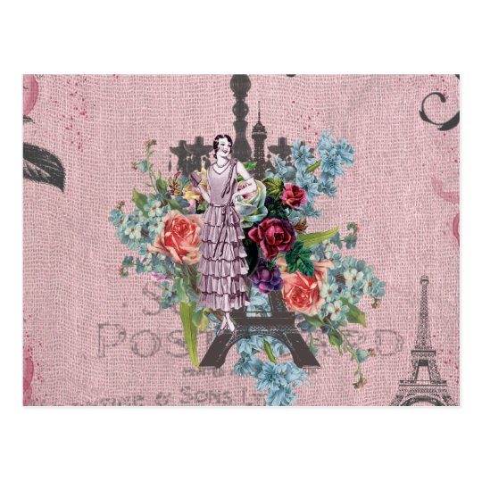 Vintage Girl Corloful Red Roses Paris Eiffel Tower