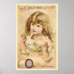 Vintage Girl Cotton Thread Advertisement Posters