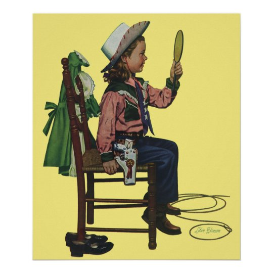 Vintage Girl Cowgirl Looking  Mirror She's so Vain Poster