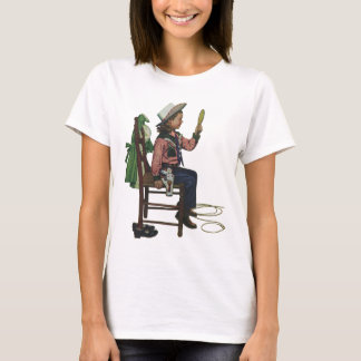 Vintage Girl Cowgirl Looking  Mirror She's so Vain T-Shirt