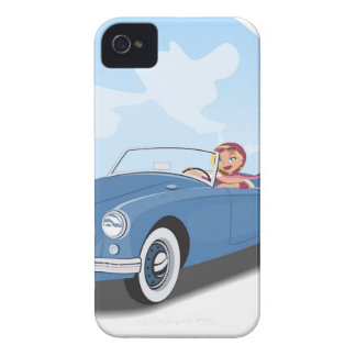 Vintage Girl driving to convertible car Case-Mate iPhone 4 Case