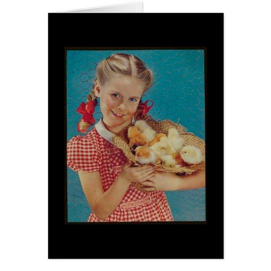 Vintage Girl & Easter Chicks Card