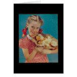 Vintage Girl & Easter Chicks Greeting Card