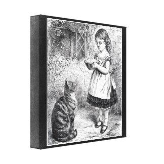 Vintage Girl Feeding Cat a Saucer of Milk Canvas Prints