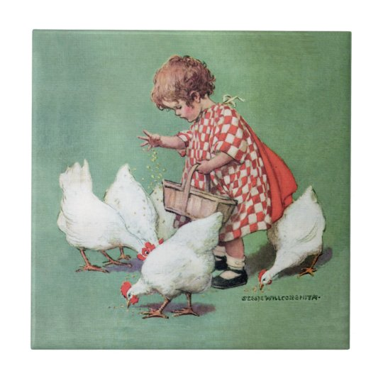 Vintage Girl Feeding Hens by Jessie Willcox Smith