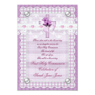 Vintage Girl First Holy Communion Pretty Purple 3.5x5 Paper Invitation Card