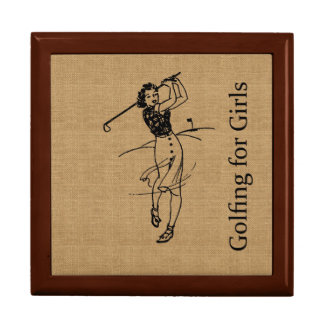Vintage Girl Golfer on Faux Burlap Decorative Gift Box