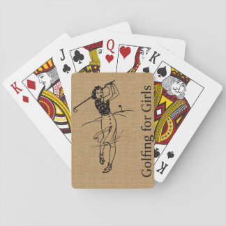 Vintage Girl Golfer on Faux Burlap Decorative Playing Cards