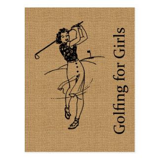Vintage Girl Golfer on Faux Burlap Decorative Postcard
