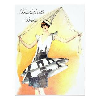 Vintage Girl in Eiffel Tower Costume Bachelorette 11 Cm X 14 Cm Invitation Card