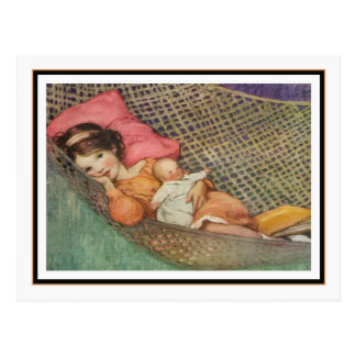 Vintage Girl in Hammock by Jessie Willcox Smith Postcard