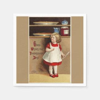 Vintage Girl in Red Dress Thanksgiving Paper Serviettes