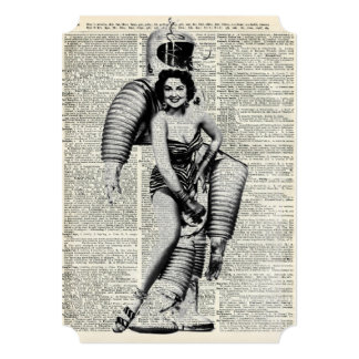 Vintage Girl in robot costume 13 Cm X 18 Cm Invitation Card