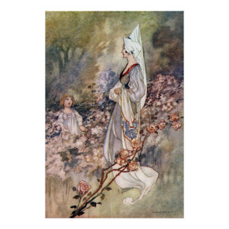 Vintage Girl in Rose Garden by Charles Robinson Poster