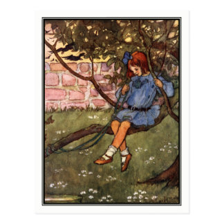 Vintage Girl in Tree by Florence Harrison Postcard