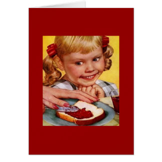 Vintage Girl & Jelly Sandwich Greeting Card