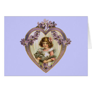 Vintage Girl & Kitty in Floral Heart Greeting Card