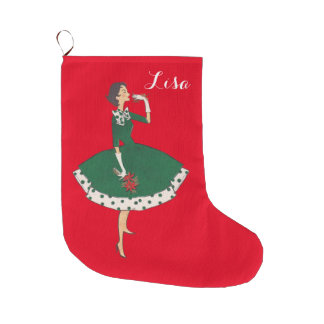 Vintage Girl Large Christmas Stocking