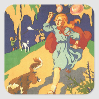 Vintage Girl Little Red Riding Hood Birthday Party Square Sticker