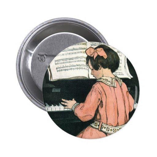 Vintage Girl, Music, Piano, Jessie Willcox Smith 6 Cm Round Badge