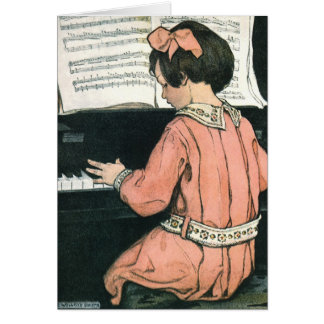 Vintage Girl, Music, Piano, Jessie Willcox Smith Greeting Card
