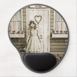 Vintage Girl neat a Retro Cottage Gel Mouse Pad