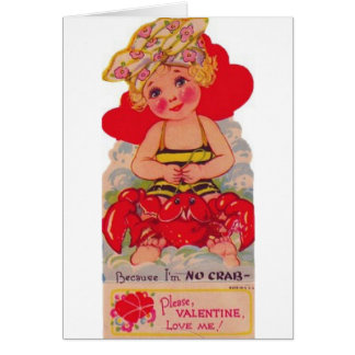 Vintage Girl On Beach Valentine s Day Card
