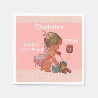 Vintage Girl on Phone Baby Shower Chevrons Disposable Serviette