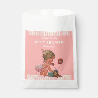 Vintage Girl on Phone Baby Shower Chevrons Favour Bags