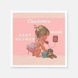 Vintage Girl on Phone Baby Shower Chevrons Paper Napkin