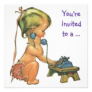 Vintage Girl on the Phone Child Birthday Party Custom Invitations