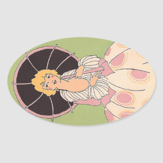 Vintage Girl Oval Sticker