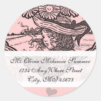 Vintage Girl Pink Flower  Return Address Label Round Sticker
