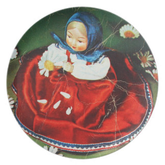 Vintage girl plate