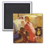 Vintage Girl Praying with Dog; Bedtime Prayers Refrigerator Magnet