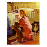 Vintage Girl Praying with Dog; Bedtime Prayers Post Card
