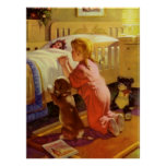 Vintage Girl Praying with Dog; Bedtime Prayers Posters