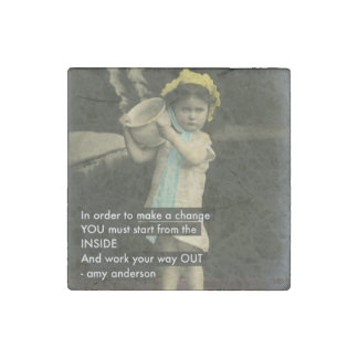 Vintage Girl Quote  Stone Magnet