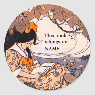 Vintage girl reading book plate round sticker