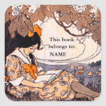 Vintage girl reading book plate square stickers