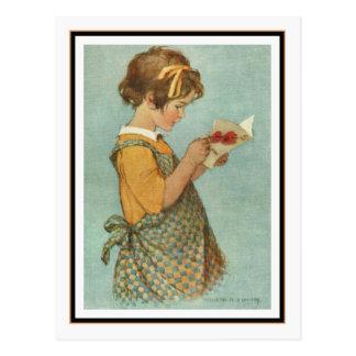 Vintage Girl Reading Card by Jessie Willcox Smith