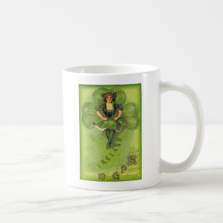 Vintage Girl Shamrock Ireland St Patrick's Day Car Coffee Mug