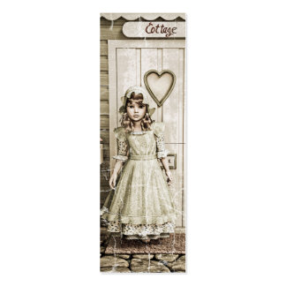 Vintage Girl standing near a Retro Cottage Pack Of Skinny Business Cards