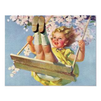 Vintage Girl Swinging on Tree Swing Birthday Party Card
