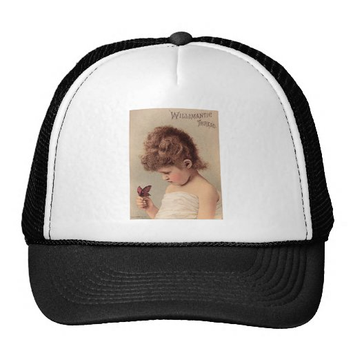 Vintage Girl with a Butterfly Mesh Hat