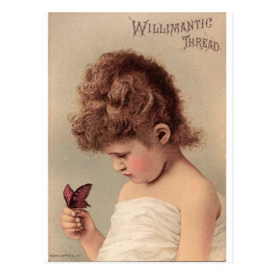 Vintage Girl with a Butterfly Postcard