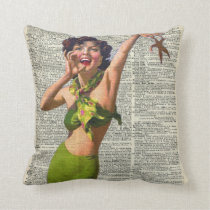 Vintage Girl with a starfish Cushion