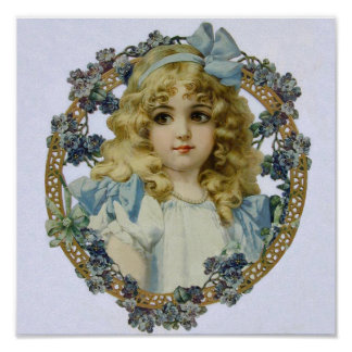 Vintage Girl with Beautiful Flowers and Bow Poster