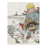 Vintage Girl With Chickens, E is an Egg Postcard