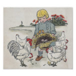 Vintage Girl With Chickens, E is an Egg Posters